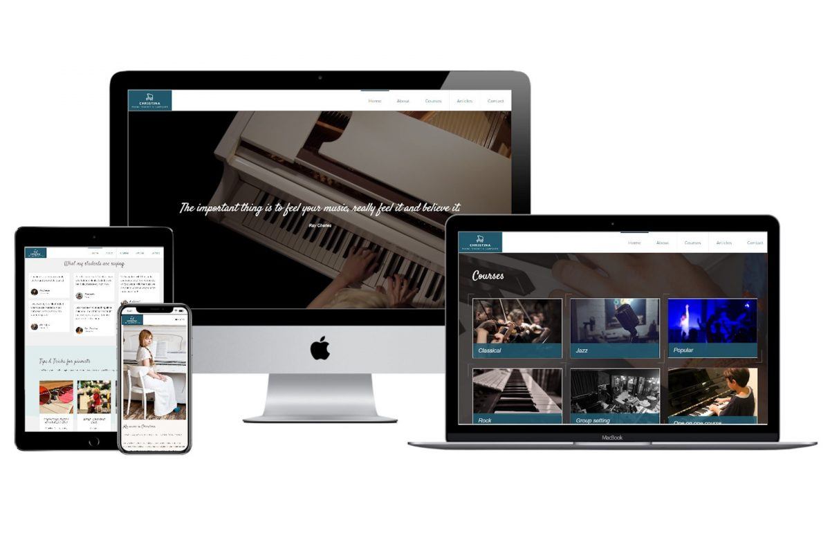 Christina piano teacher website mockup mobile responsiveness