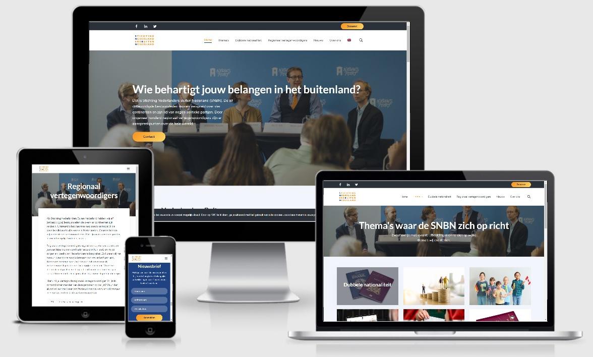 Mockup image of the SNBN website