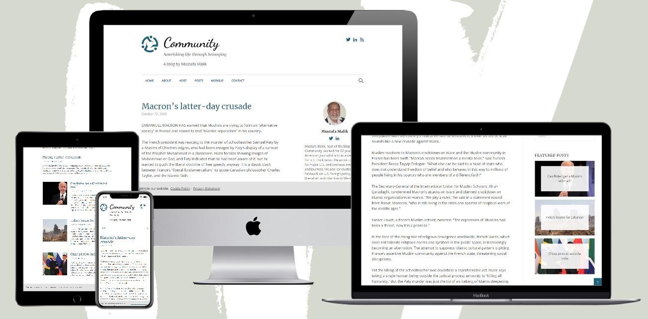 Mockup of responsive site